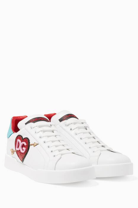 White Classic Patch Leather Sneakers