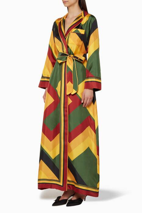 Multi-Coloured Geometric-Print Roda Robe