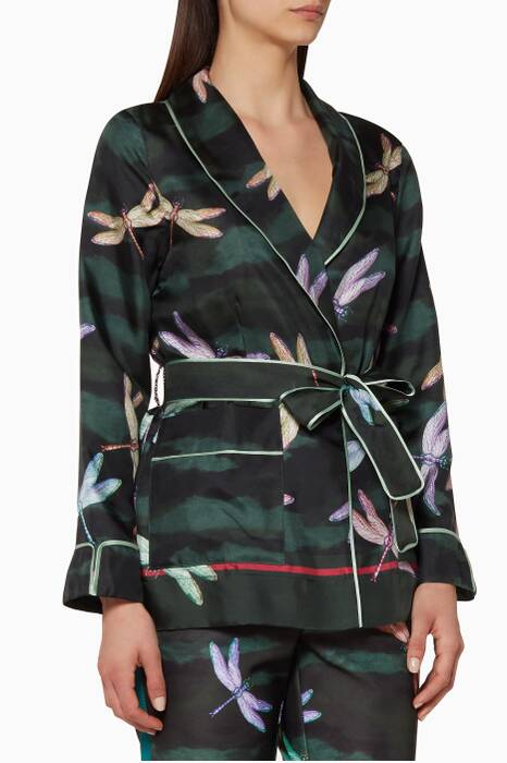 Green Dragonfly-Print Armonia Shirt