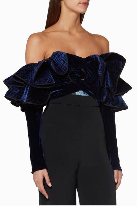 Midnight Micaela Ruffled Velvet Bodysuit