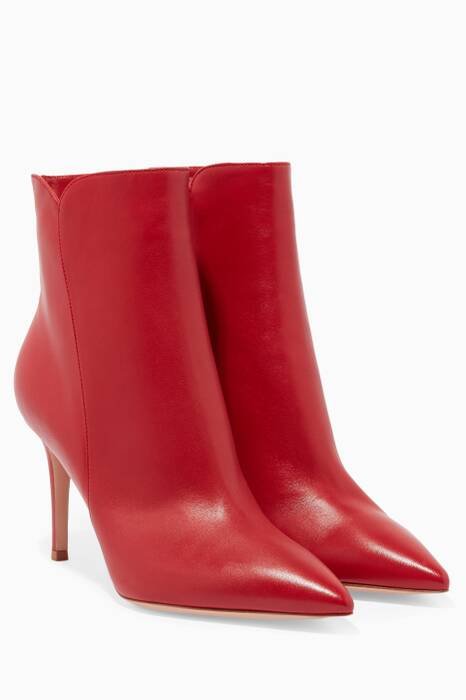 Red Levy Leather Booties
