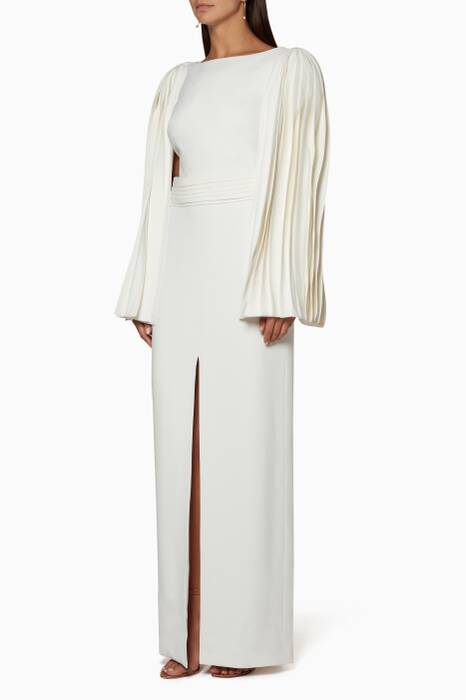Ivory Belted Layer Sleeve Gown