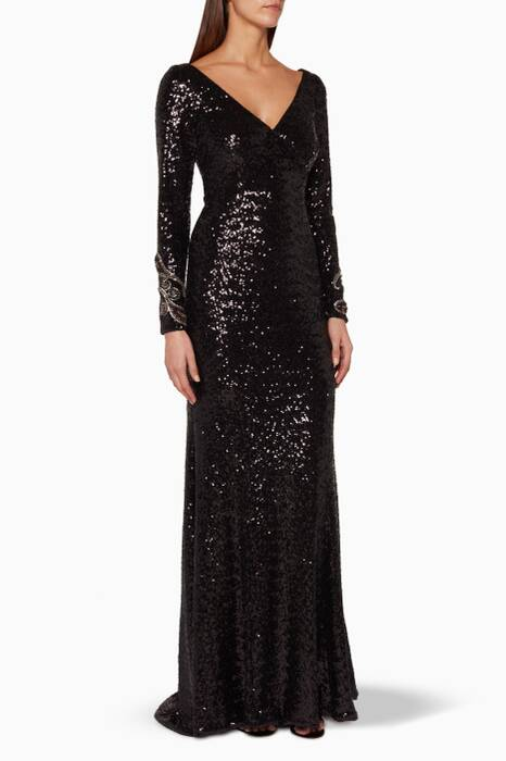 Black Long Sleeve Sequin Gown