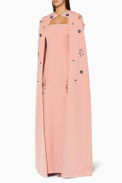 Dusty-Rose Embellished Cape Gown