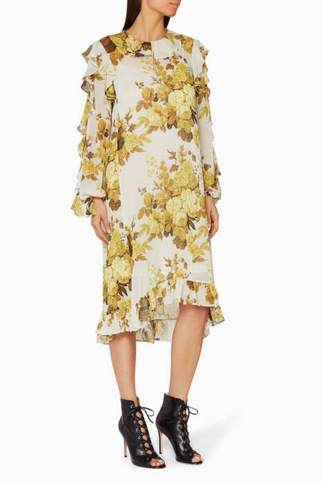 Yellow Floral-Print Ruffle Dress