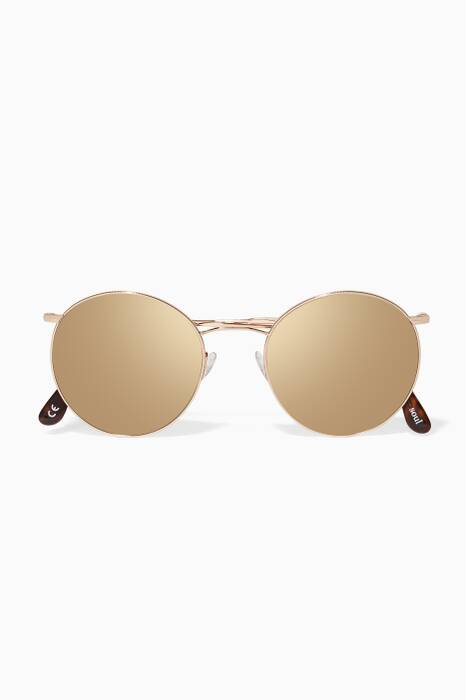 Gold Mirrored Round Sunglasses