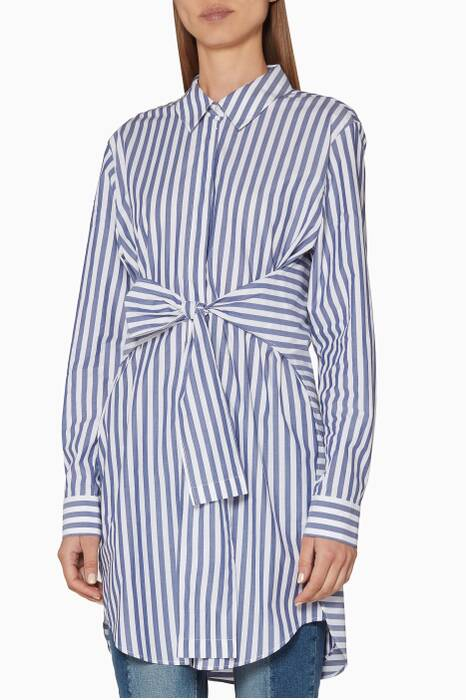 White & Blue Striped Shirtdress