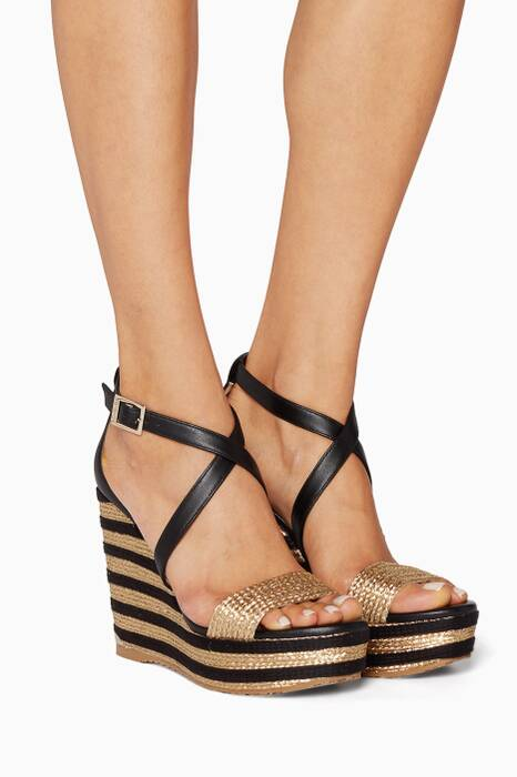 Black and Gold Portia Espadrille Wedges