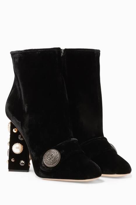 Black Velvet Booties With Embellished Heel