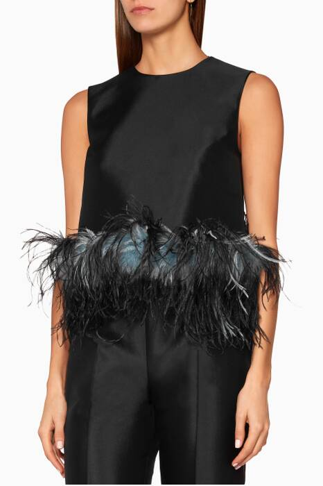 Black Feather-Trimmed Boxy Top