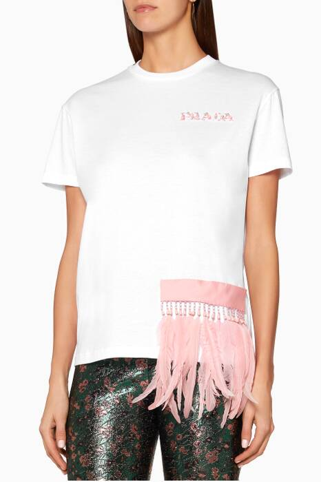 White Feather-Trimmed & Sequin Embellished T-Shirt