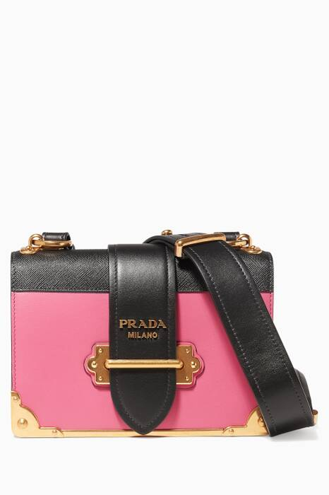 Pink Two-Tone Leather Cahier Shoulder Bag