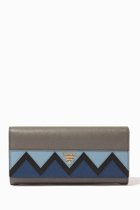Grey & Blue Greco Continental Wallet