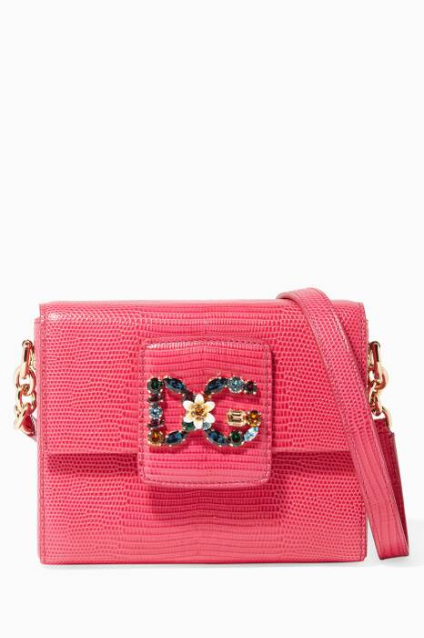 Pink Iguana-Effect Small Millenials Crossbody Bag