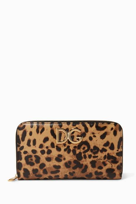 Leopard Printed Leather Logo Continental Wallet