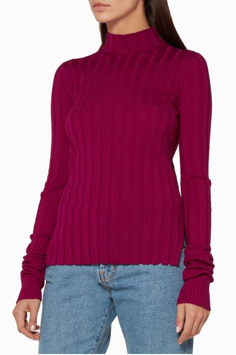 Pink Wide Rib Mock Pullover