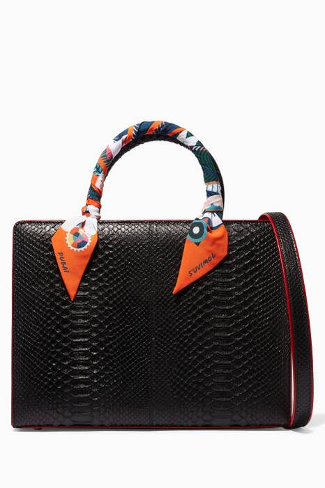 Black My Sweet Box Large Python Top Handle Bag
