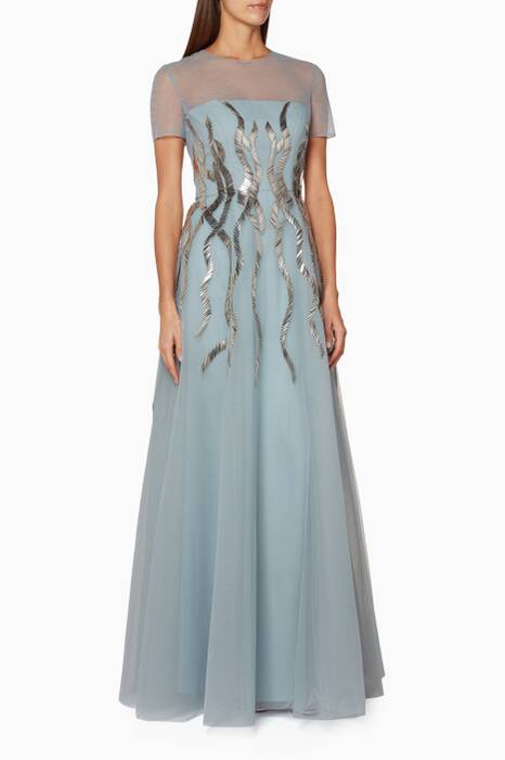 Light-Blue Embellished Tulle Gown