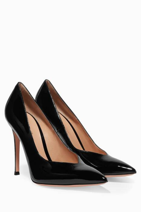 Black Patent V-cut Pumps