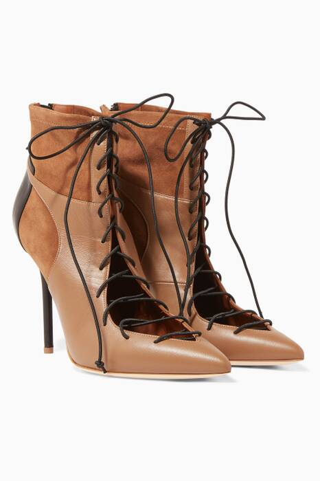 Tonal-Brown Montana Suede-Panel Lace-Up Booties