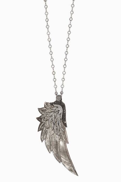 Silver, Cubic Zirconia & Mother-of-Pearl Wing Necklace