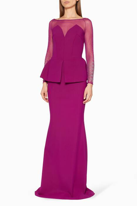 Purple Afet Illusion Gown
