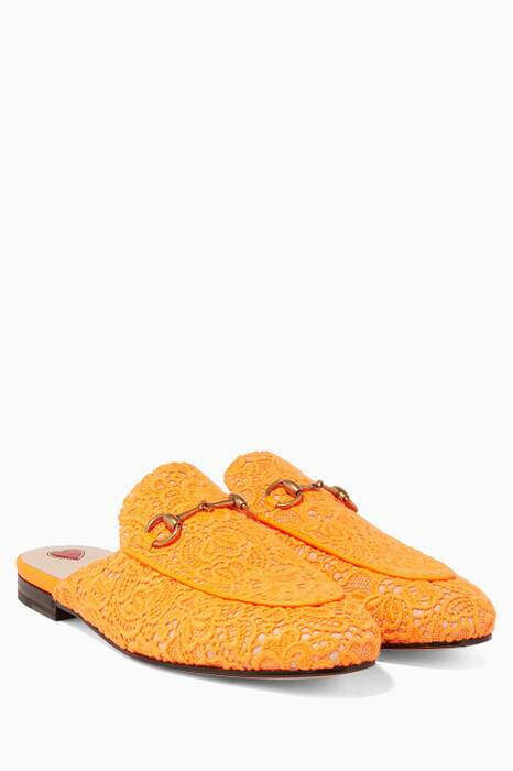 Orange Princetown Lace Loafers
