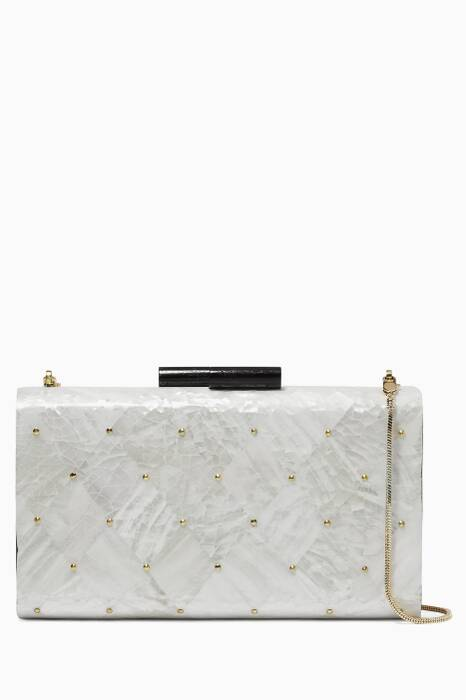 Beige Hugh I Shell Clutch