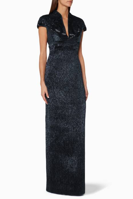 Metallic-Navy Embroidered Plisse Gown