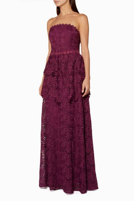 Purple Helena Floral Gown
