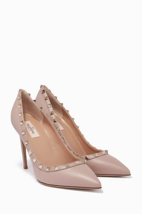 Light-Beige Rockstud Leather Pumps