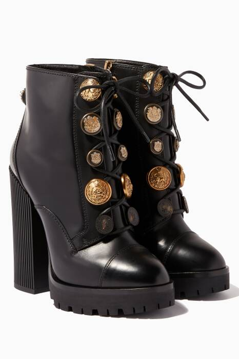 Black Lug Sole Biker Boots