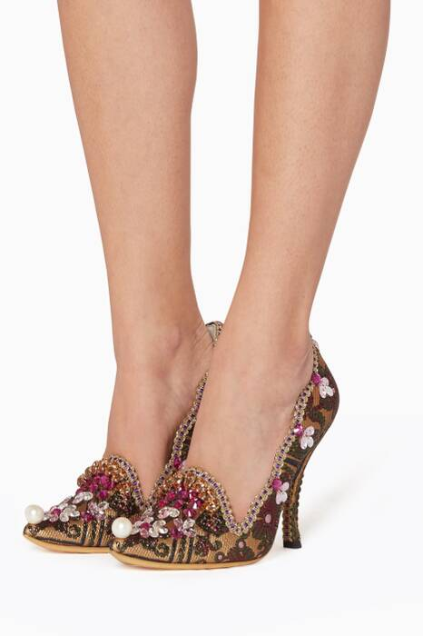 Multi-Coloured Pearl Embellished Pumps