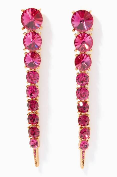 Pink Single Tendril Crystal Earrings