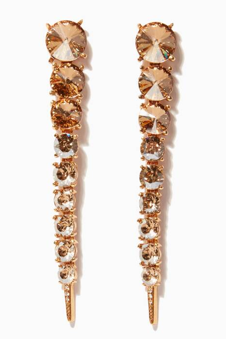 Gold Single Tendril Crystal Earrings