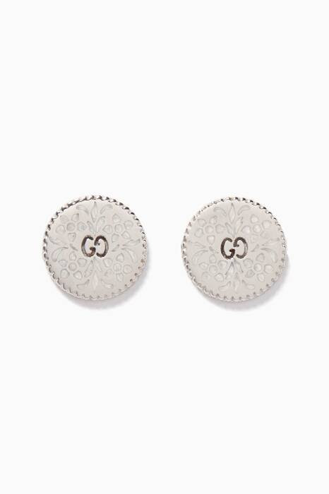 White-Gold & Enamel Icon Stud Earrings