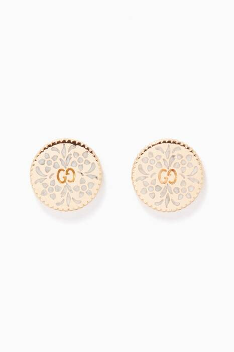Yellow-Gold & Enamel Icon Stud Earrings