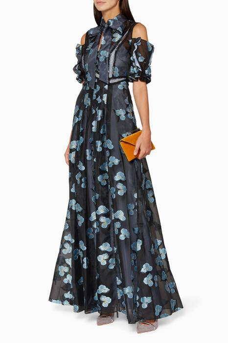 Blue Floral Fil Coupé Maxi Dress