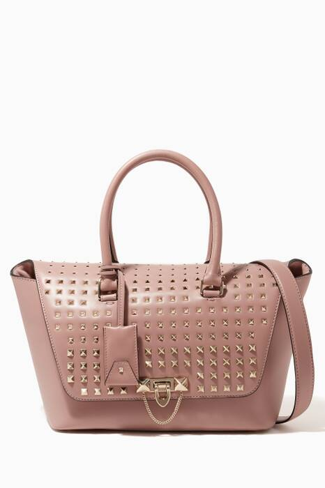 Pink Rockstud Small Demilune Double Top Handle Bag