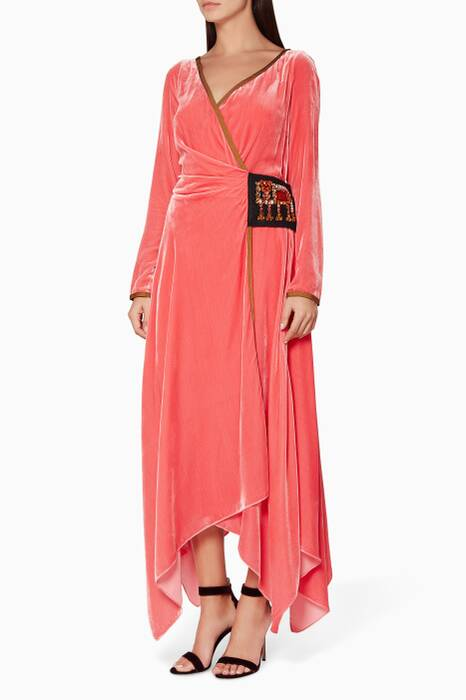 Orange Crystal-Embellished Velvet Wrap Dress