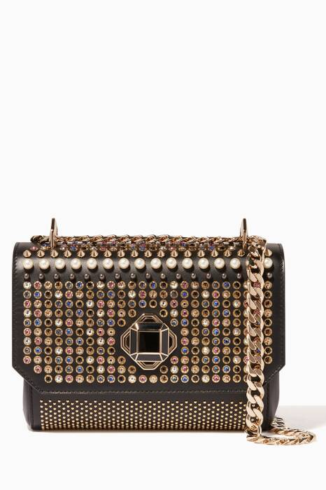 Black Swarovski Crystal & Stud-Embellished Cross-Body Bag