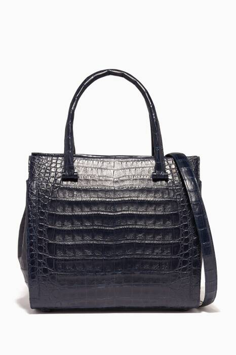 Navy Medium Structured Tote Bag