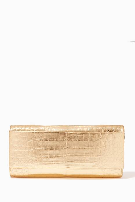 Beige Crocodile Rosette Fold-Over Clutch