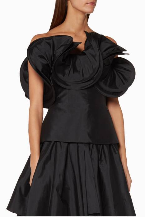 Black Ruffled Rania Top