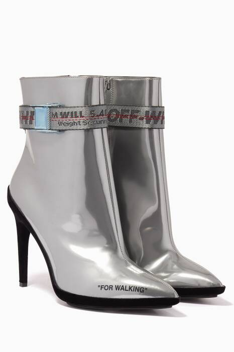 Silver For Walking Strap Ankle Boots