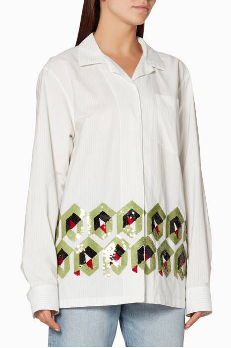 White Cliver Embroidered Shirt
