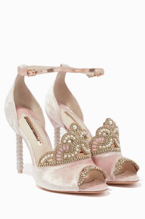 Pink Royalty Velvet & Crystal Tiara Sandals