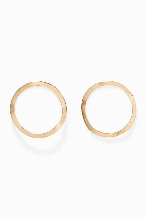 Gold-Plated Silver Open Wavee Circle Earrings