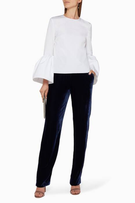 White Truffaut Flounce-Sleeved Top