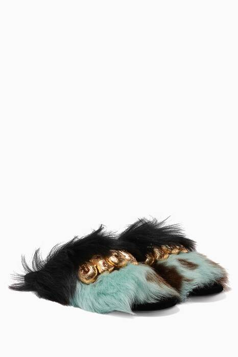 Black & Blue Jewel Embellished Fur Slippers